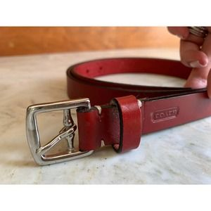 Coach red & silver leather belt